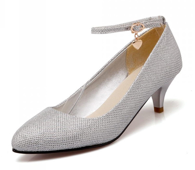 Aisun Women's Trendy Pointed Toe Low Cut Ankle Wrap Buckle Strap Dress Low Heels Pumps Party Bridal Stiletto Shoes