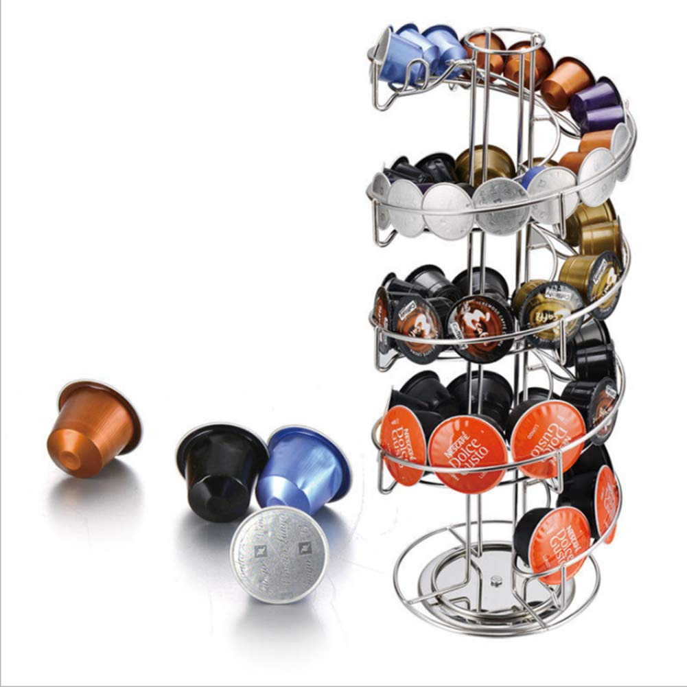 Coffee Pod Storage Carousel, 360 Degree Rotating Espresso Capsules Storage Rack Holder, Universal Coffee Capsules Display Stand for Home Coffee Bar