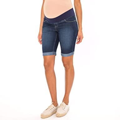 080b97962498c Amazon.com: Great Expectations Maternity Denim Bermuda Shorts with Stretch  Comfort Waist (Dark Wash, X-Small XS, 0-2): Clothing