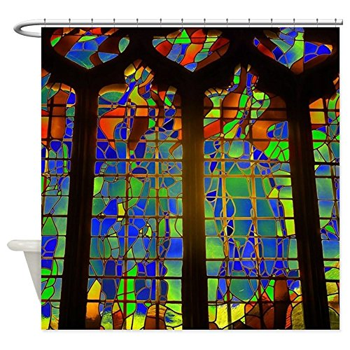 CafePress - Technicolor Stained Glass - Decorative Fabric Shower Curtain - Stained Glass Fabric