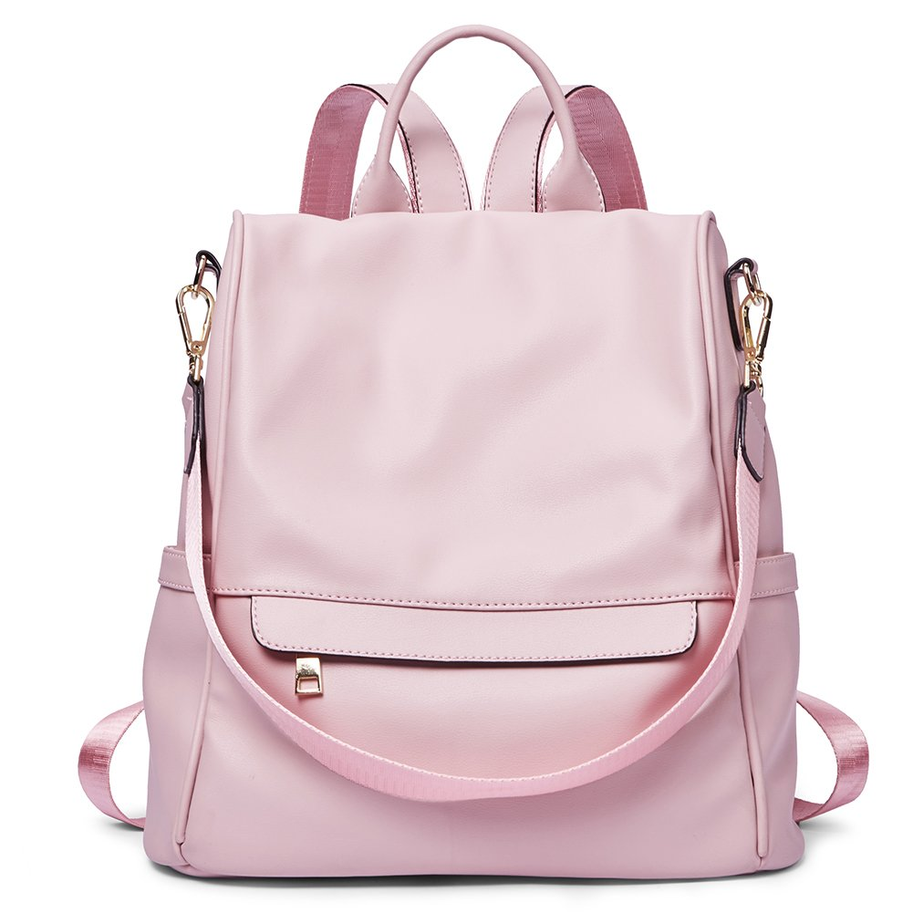 Womens Backpacks Purse Fashion PU Leather Anti-theft Large Travel Bag Ladies Shoulder School Bags pink;