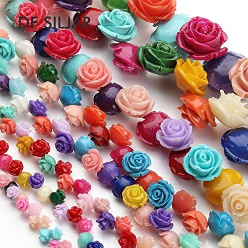 Pukido 1strand 6/8/10/12/15mm Mixed Rose Flower Coral Beads Natual Loose Spacer Coral Beads Necklace Jewelry DIY Making Findings - (Color: Mix Colors Randomly, Item Diameter: 12mm About 34pcs)