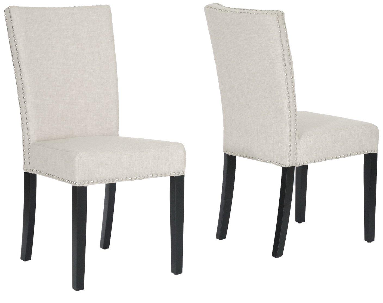 Amazon com baxton studio harrowgate linen modern dining chair beige set of 2 chairs