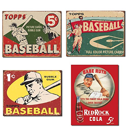 Vintage Baseball Tin Sign Bundle - Topps Baseball 1955 Picture Cards Bubble Gum, Topps Baseball 1954 Full Color Picture Cards, Topps Baseball 1959 1 cent Bubble Gum and Babe Ruth/Red Rock Cola