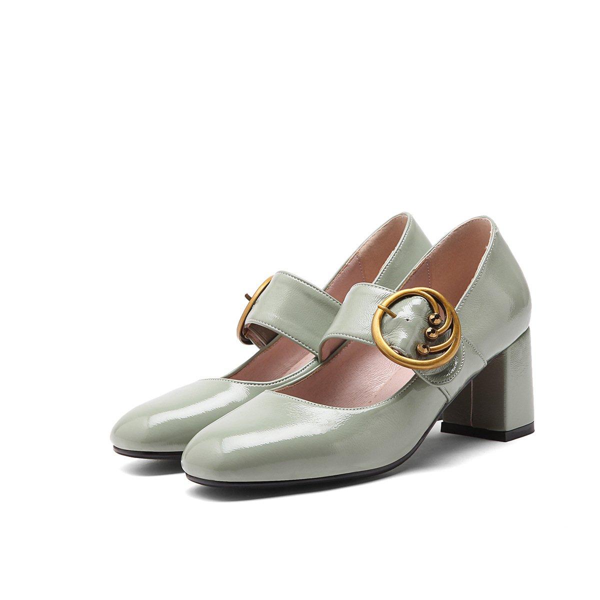 CXQ-Heels QIN&X Damen Square Toe Blockabsatz Flachen Grün Mund Schuhe Light Grün Flachen 75991e