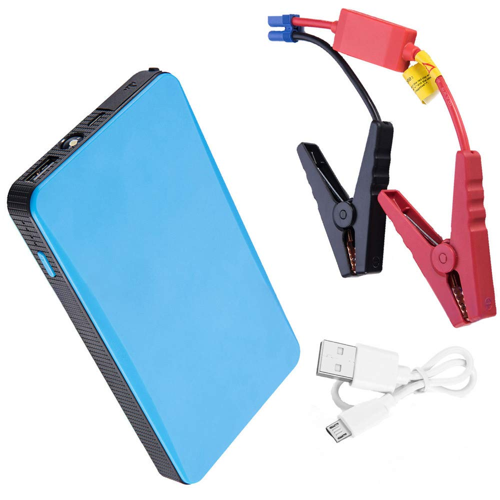Transser 6000mAh Car Jump Starter, 12V Auto Battery Booster, Phone Charger with USB Charging Port, Portable Power Pack with Built-in LED light (Blue) by Transser-