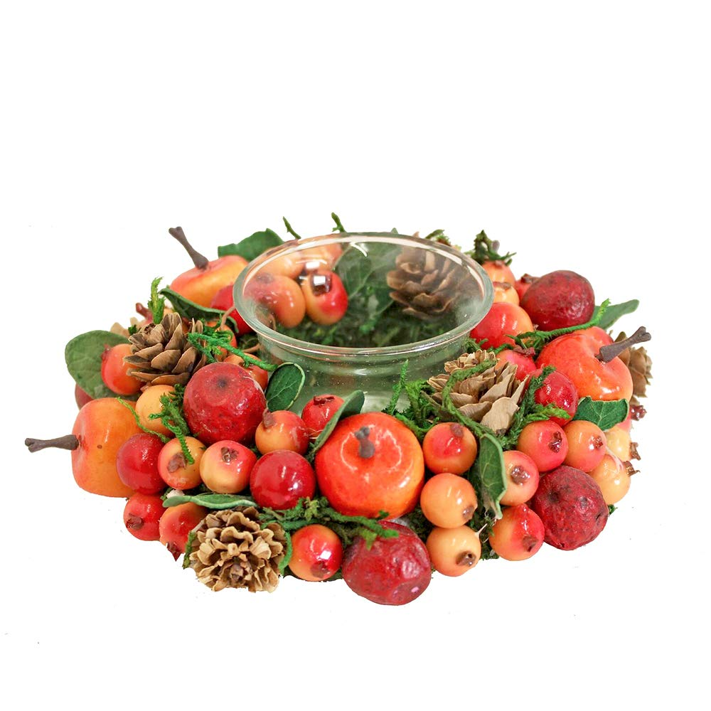 Autumn Harvest Votive Candle Holder 14cm with Red and Orange Berries China