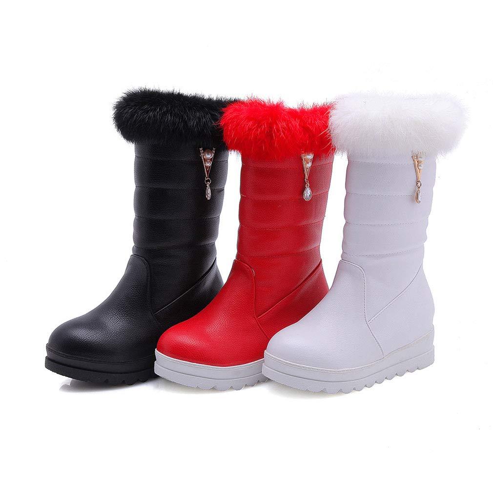Hy Hy Hy 2018 Winter Frauen Schnee Stiefel Stiefel Winter Künstliche PU Flache Stiefelies Dicken Boden Warme Große Größe Mitte Stiefel Outdoor Ski Schuhe (Farbe   Weiß Größe   36) cc34ed