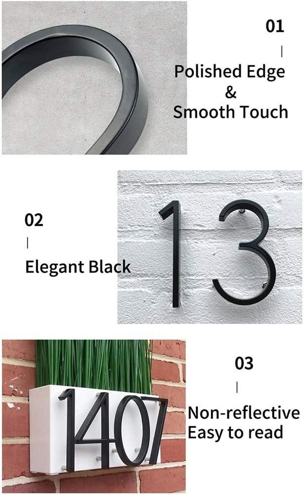 Color : 3 WenJ 12cm Big 3D Modern House Number Door Accueil Adresse Num/éros for Maison Nombre Num/érique Porte Ext/érieure Plaques Signe 5 Pouces.Noir