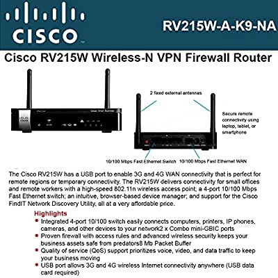 "Cisco, Small Business Rv215w Wireless Router 4-Port Switch 802.11B/G/N ""Product Category: Networking/Wireless Bridges & Routers"""