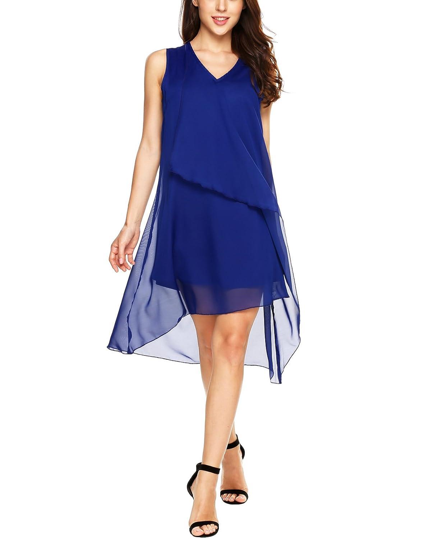 Beyove Damen Chiffon Kleid Elegant Partykleid Strandkleid ...