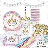 Unicorn Party Supplies Set Plus Bonus Happy Birthday Banner - Serves 16 - Pink - Perfect For Birthday Girls and First Birthdays by Good Karma Party Favors