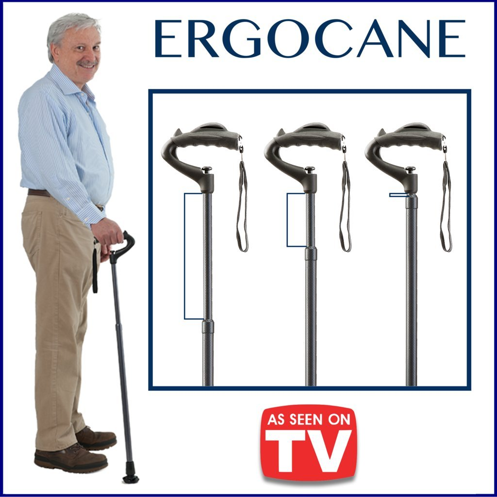 Amazon.com: As Seen On TV Ergocane By Ergoactives. Fully-adjustable Ergonomic Cane (Black/Glossy): Health & Personal Care