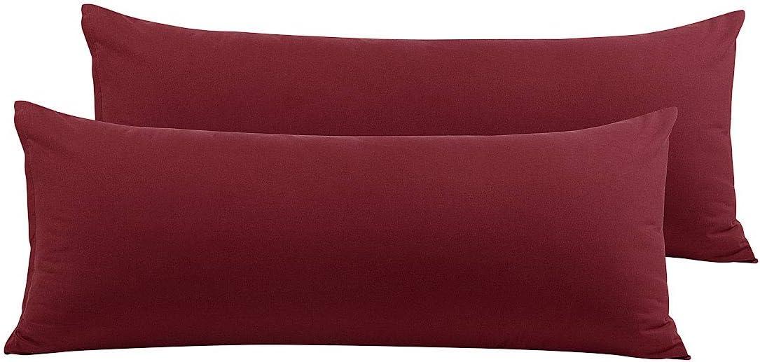 110 GSM Microfiber Deep Orange Pillowcases No Zipper PiccoCasa 2 Packs Body Pillow Case Soft Full Body Pillow Covers for Long Pillows Body 20x48
