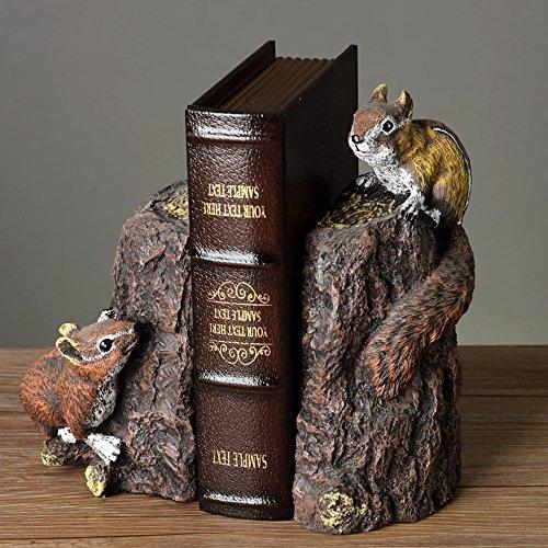 (BWLZSP 1 pair Squirrel bookshelf booklet little ornaments American style bookcase office desktop handicraft furnishings LU613946)