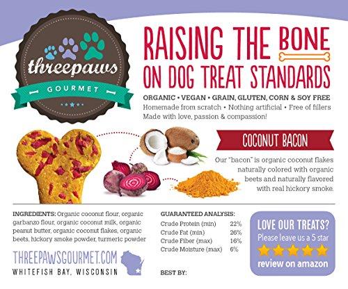 Coconut Bacon Bones, Hickory Smoked Gourmet Organic and Vegan Dog Treats - Gluten Free, Grain Free
