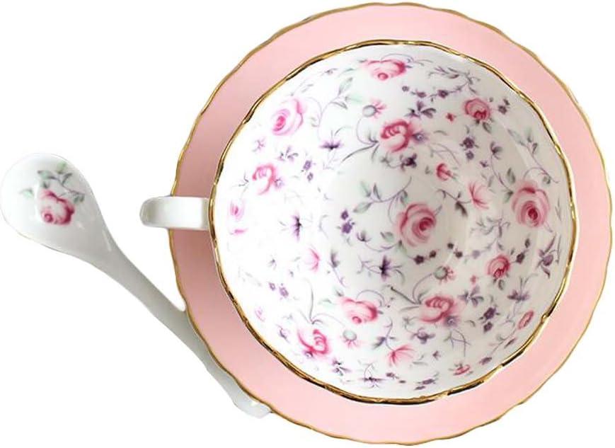 Blancho Nachmittagstee Keramik Teetasse Englische Teetassen und Untertasse Set mit L/öffel 5.4OZ