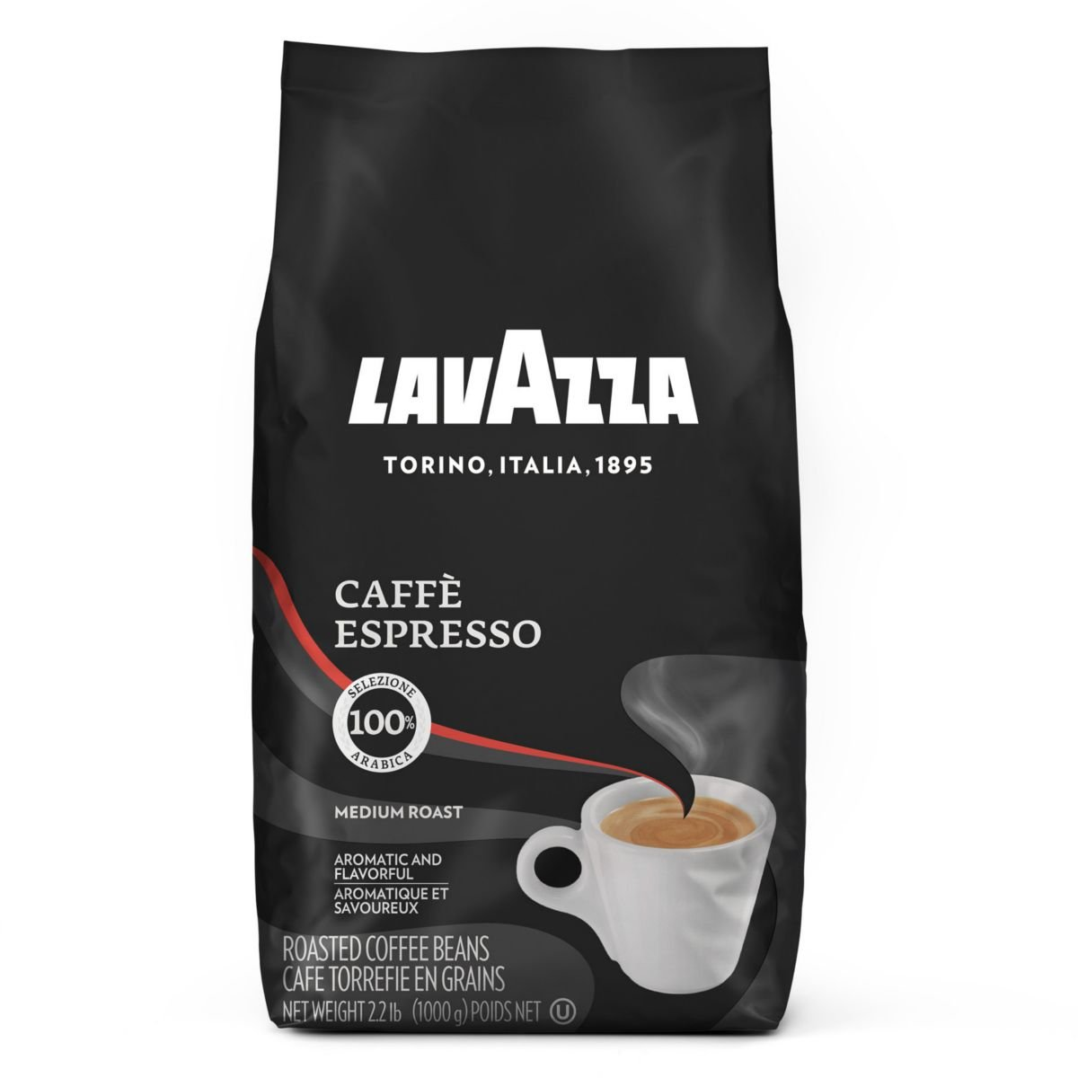 Lavazza Caffe Espresso Whole Bean Coffee Blend, Medium Roast, 2.2-Pound Bag (Pack of 2) by Lavazza