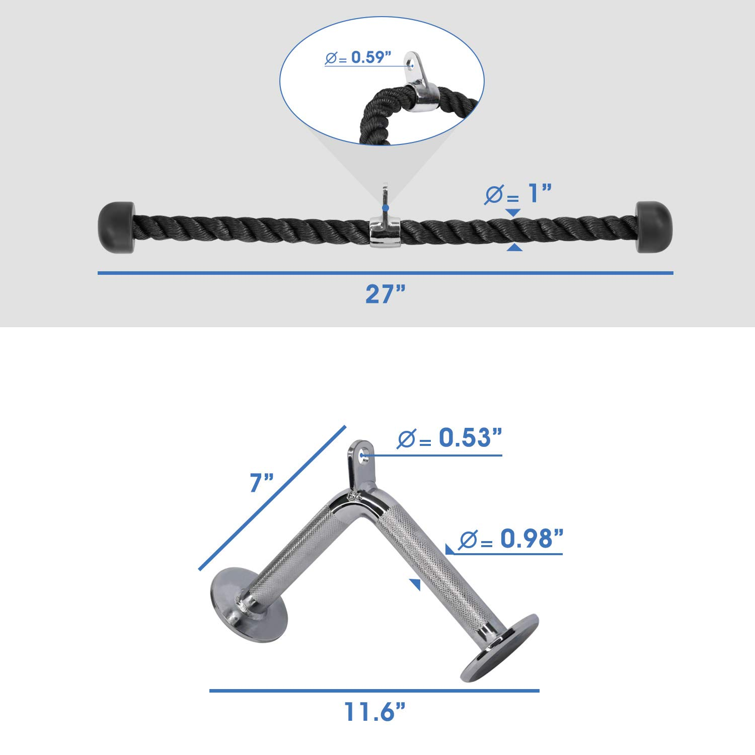 Yes4All Combo Tricep Rope/Tricep Pull Down Rope and V Bar Cable Attachment – Cable Bar for Strength Training by Yes4All (Image #2)