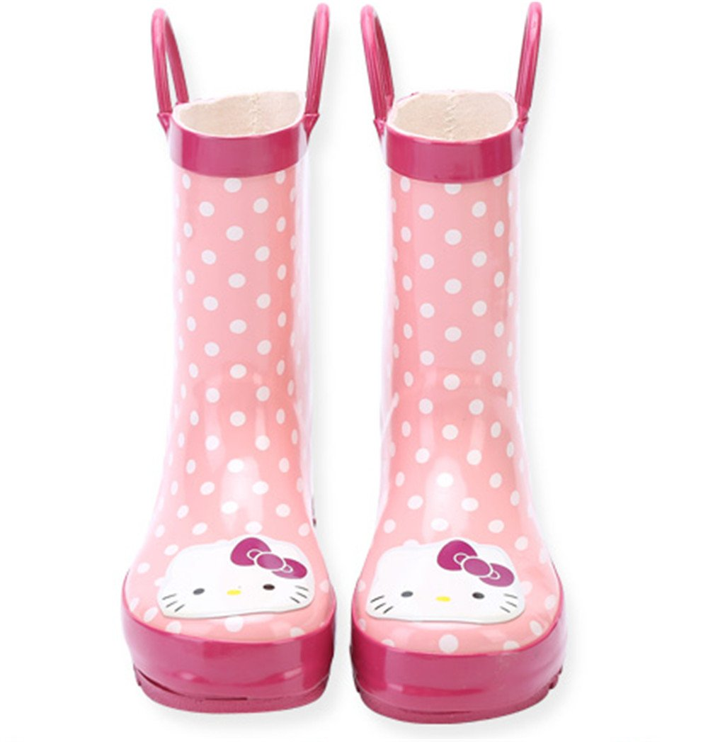 Kids Girls Hello Kitty Printed Waterproof Easy-On Rubber Rain Boots (Toddler/Little Kid) (9M US Toddler)