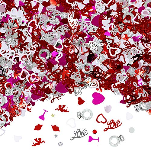 Supla 120g/7200 Pcs Table Confetti Love Heart Star Lip Angel Goblet Rings Die Cuts Confetti Foil Confettis Bulk Glitter Heart Party Confetti Table Sprinkles Party Scatter Wedding Confetti Red Pink White Siliver Metallic Confettis Heart Decorations for Valentine's Day Embellishments Wedding Kid's Party ()