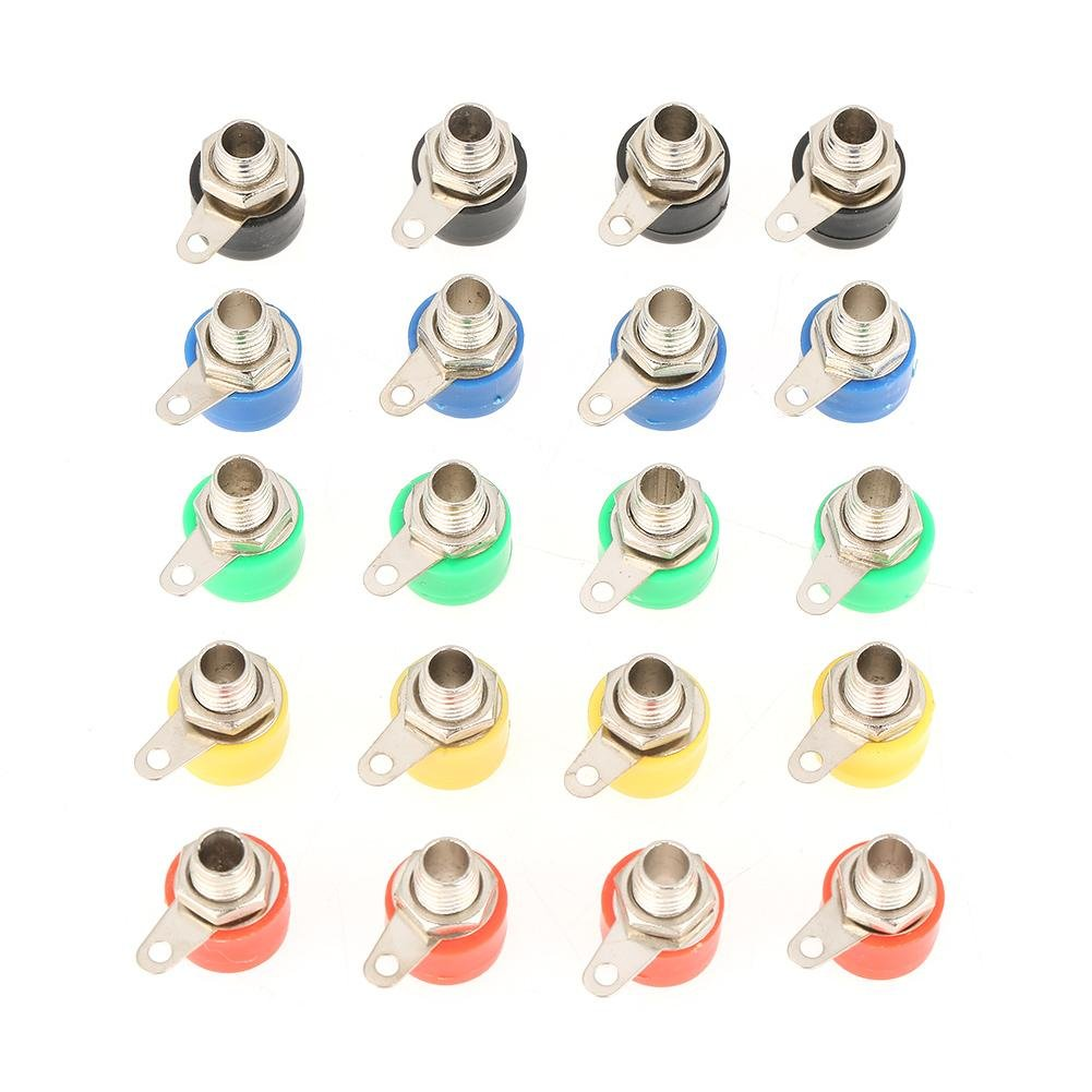 4mm Panel Mount Banana Socket Mixed Color Test Probes Speaker Terminal Binding Post Banana Plug Jack Socket Connector 20 Pcs Banana Socket