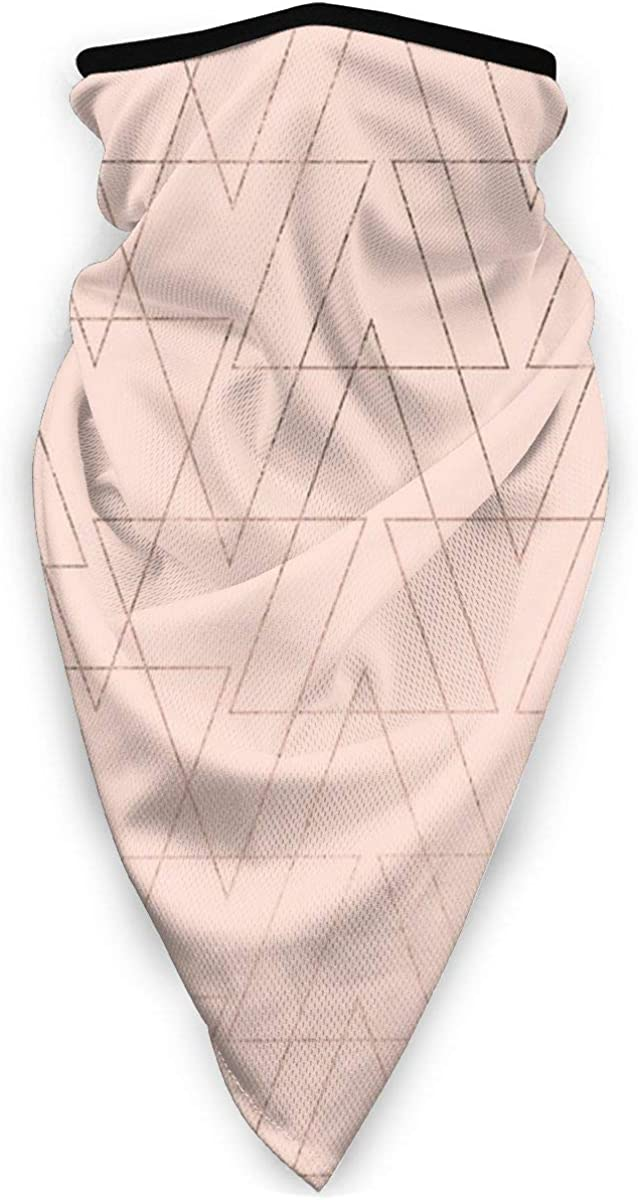 Modern Rose Gold Geometric Thin Triangles Blush Pink Neck Gaiter Warmer Windproof Mask Balaclava Face Mask Sports Mask For Outdoor Men And Women Free UV Personalized