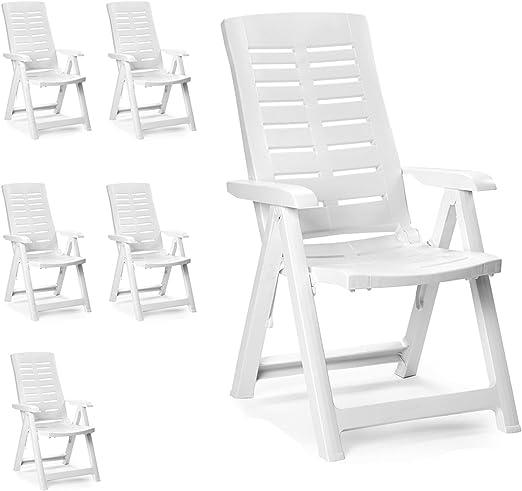 Sedie Plastica Pieghevoli Da Giardino.Finehome Sedie Pieghevoli Da Giardino In Plastica 5 Posizioni