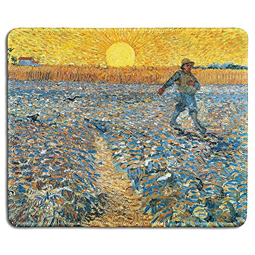 dealzEpic - Art Mousepad - Natural Rubber Mouse Pad with Famous Fine Art Painting of The Sower by Vincent Van Gogh - Stitched Edges - 9.5x7.9 inches