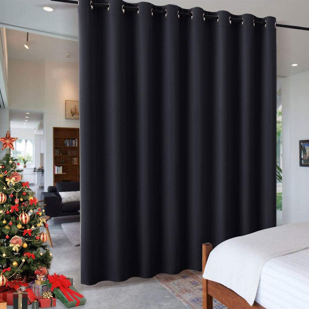 RYB HOME Black Privacy Office Divider Panel Extra Wide Long Curtain, Premium Contemporary Portable Ring Top Room Divider for Office/Apartment, 8-Foot Tall x 15 Foot Wide, 1 Pack