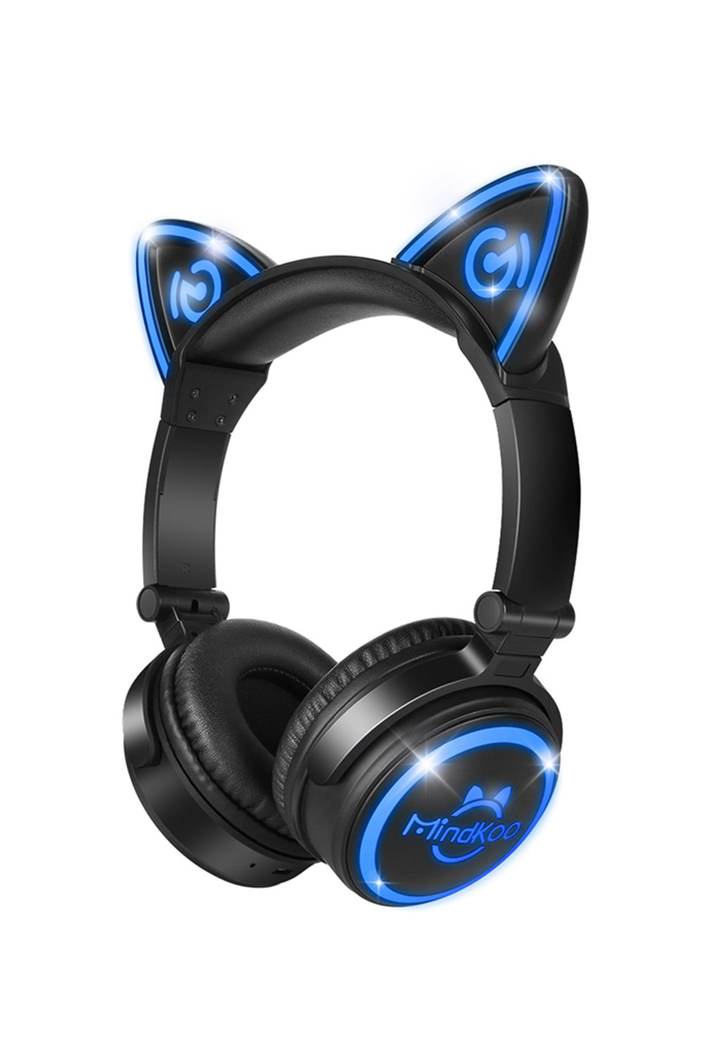 MindKoo Unicat MH-6 Kids Bluetooth Headphones,Cat Ear V4.2 Bluetooth Headsets On-Ear Earphones wtih Mic,(Patented LED Flashing Glowing Cosplay Fancy Foldable Gaming Headsets - Black