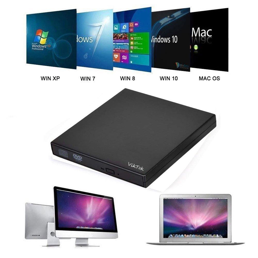 VikTck External CD Drive, USB 2.0 Slim Portable External CD/DVD-RW Player/Writer/Burner for Windows 2000/XP/Vista/Win 7/Win 8/Win 10,for Apple MacBook, Laptops, Desktops, Notebooks (Black) by VikTck (Image #4)