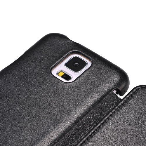 Moon Monkey Luxury Slim Imported Leather Wallet Design Protective Case for Samsung Galaxy S5 (Black)