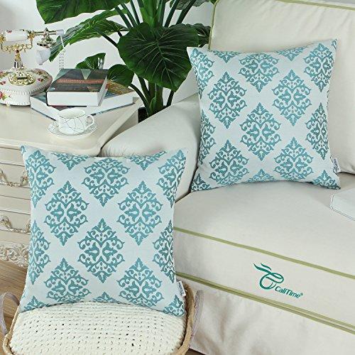 Floral throw pillow aqua