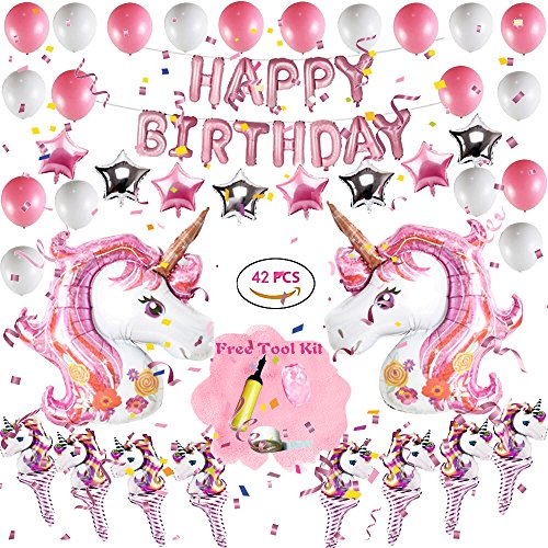 Pink Unicorn Theme Balloons, Party Supplies & Decoration Set for -