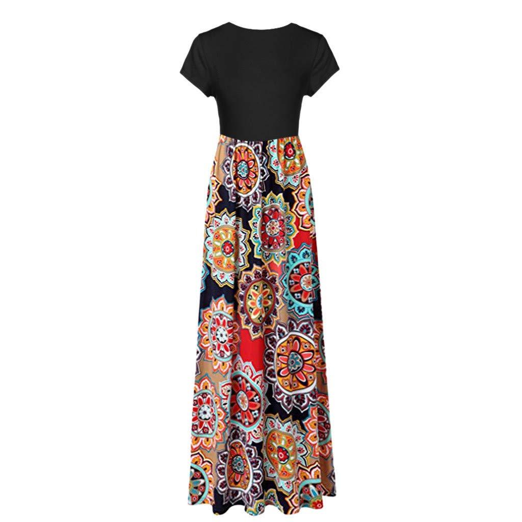 Elegant Womens Maxi Dress Floral Printed Autumn Long Sleeves Casual Tunic Long Maxi Dress