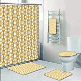 5 Piece Bathroom Rug Set/ 3 Piece Bath Rugs with Fabric Shower Curtain and Bath Towel,Traditional Geometry Pattern with Moroccan Islamic Ethnic Effects Artwork Earth Yellow Bathroom Sets