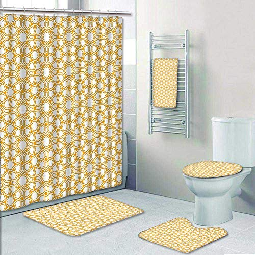 5 Piece Bathroom Rug Set/ 3 Piece Bath Rugs with Fabric Shower Curtain and Bath Towel,Traditional Geometry Pattern with Moroccan Islamic Ethnic Effects Artwork Earth Yellow Bathroom Sets by AmaPark