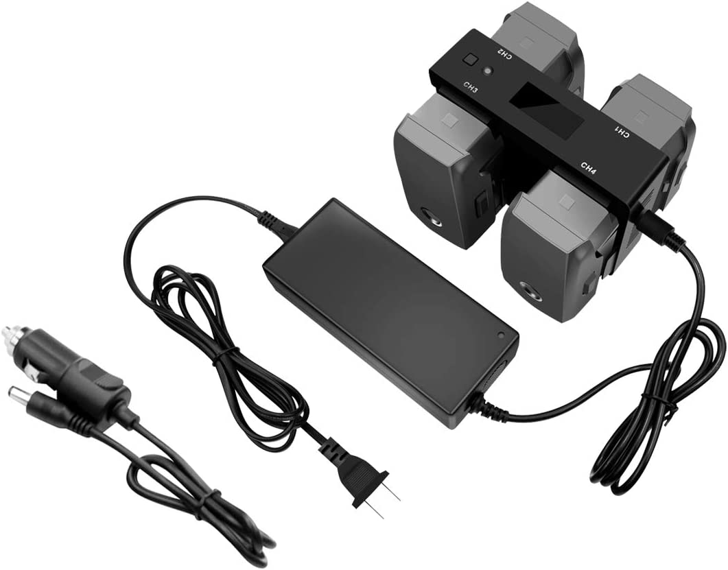 Tineer for Mavic 2 Multifunctional Battery Fast Charger,4 in 1 Battery Charging Hub Station for Home Charger & Car Charger for DJI Mavic 2 Pro/Zoom Accessory