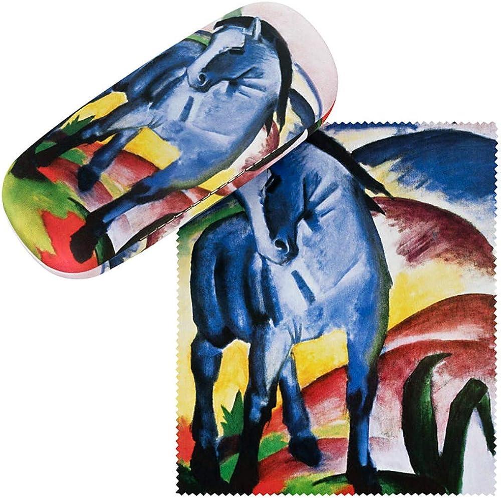 VON LILIENFELD Estuche Gafas Funda Ligeramente Estable Colorido Regalo Mujer Motivo Arte Franz Marc: Caballo azul