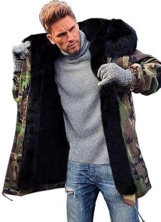 dd98b8f9eff Aofur Mens Winter Warm Thick Faux Fur Slim Trench Coat Long Jacket Parka  Hooded Pea Coat