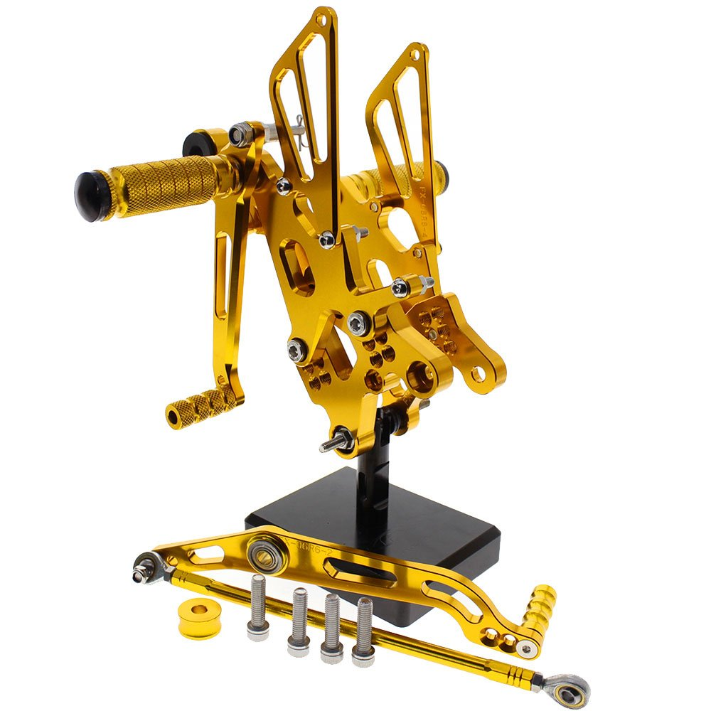 FXCNC R6 Motorcycle Rear Foot Pegs CNC Rear set Footrests Fully Adjustable Rear Foot Boards Fit for YAMAHA YZF R6 2006-2014 Gold