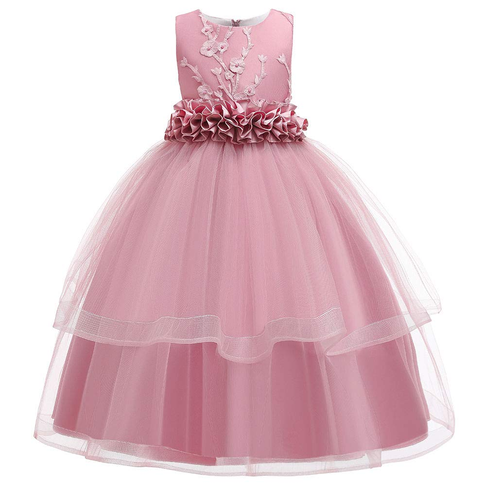 Hopscotch Si Rosa Girls Polyester Sleeveless Applique Floral Gown in Pink Color