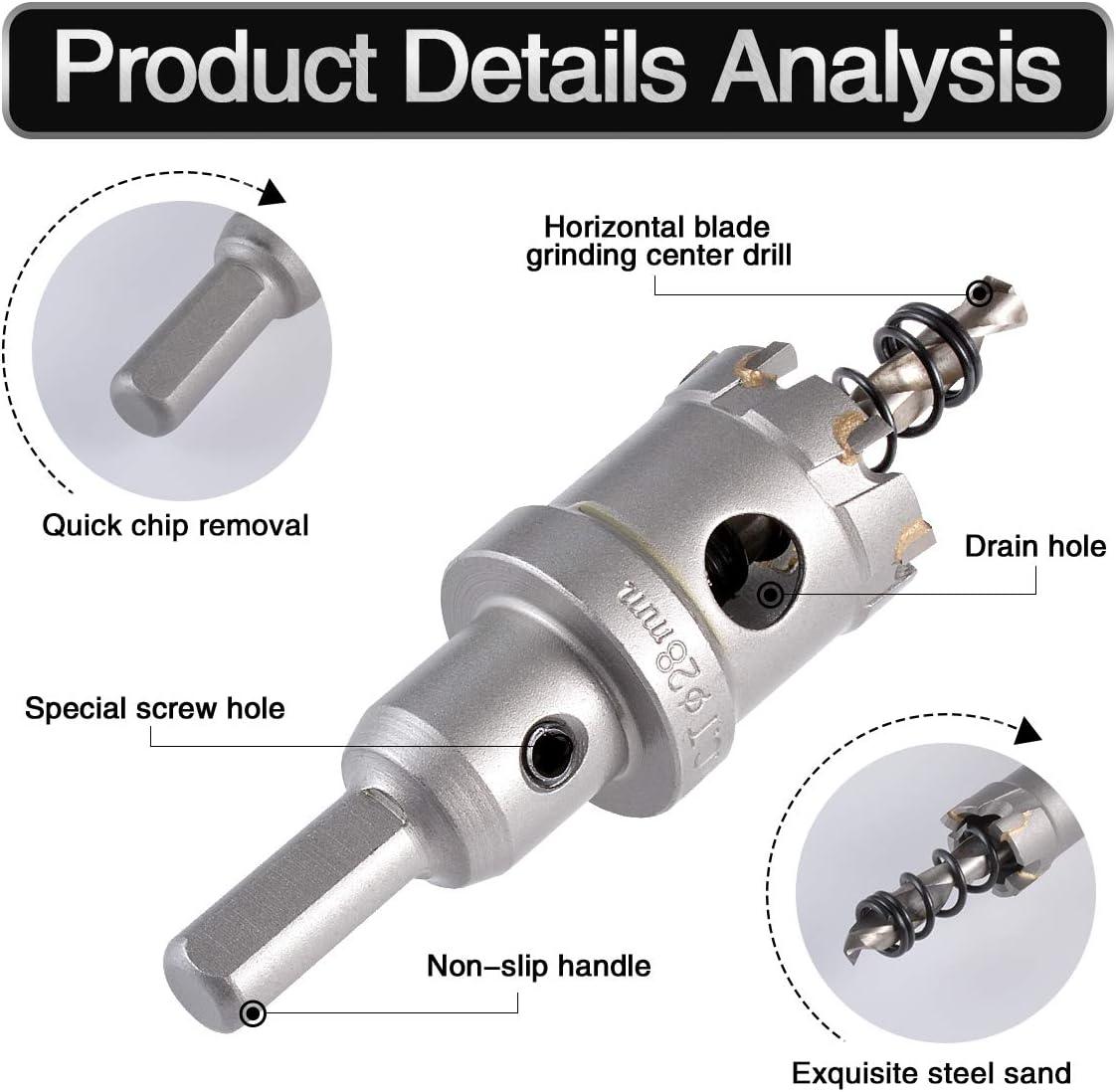 TCT Carburo Abridor de agujeros para herramientas el/éctricas de perforaci/ón de metal HOHXEN Sierra de corona para taladro de 16mm