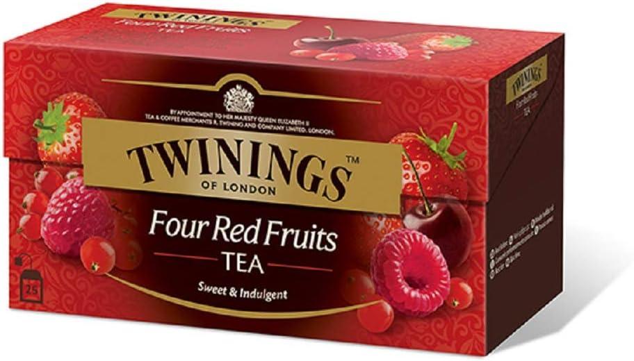 Twinings Tè Aromatizados - Cuatro Frutos Rojos - Precioso té Negro Aromatizado con Frutas, Flores, Especias y Esencias - Sabor Envolvente, Excelente tanto Caliente como Frio (50 Bolsas): Amazon.es: Alimentación y bebidas