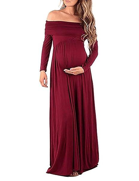 CLOCOLOR Premamá Vestido Largo Manga Larga Off Hombros Vestido Plisado Elegante para Mujer Embarazada Trajes de