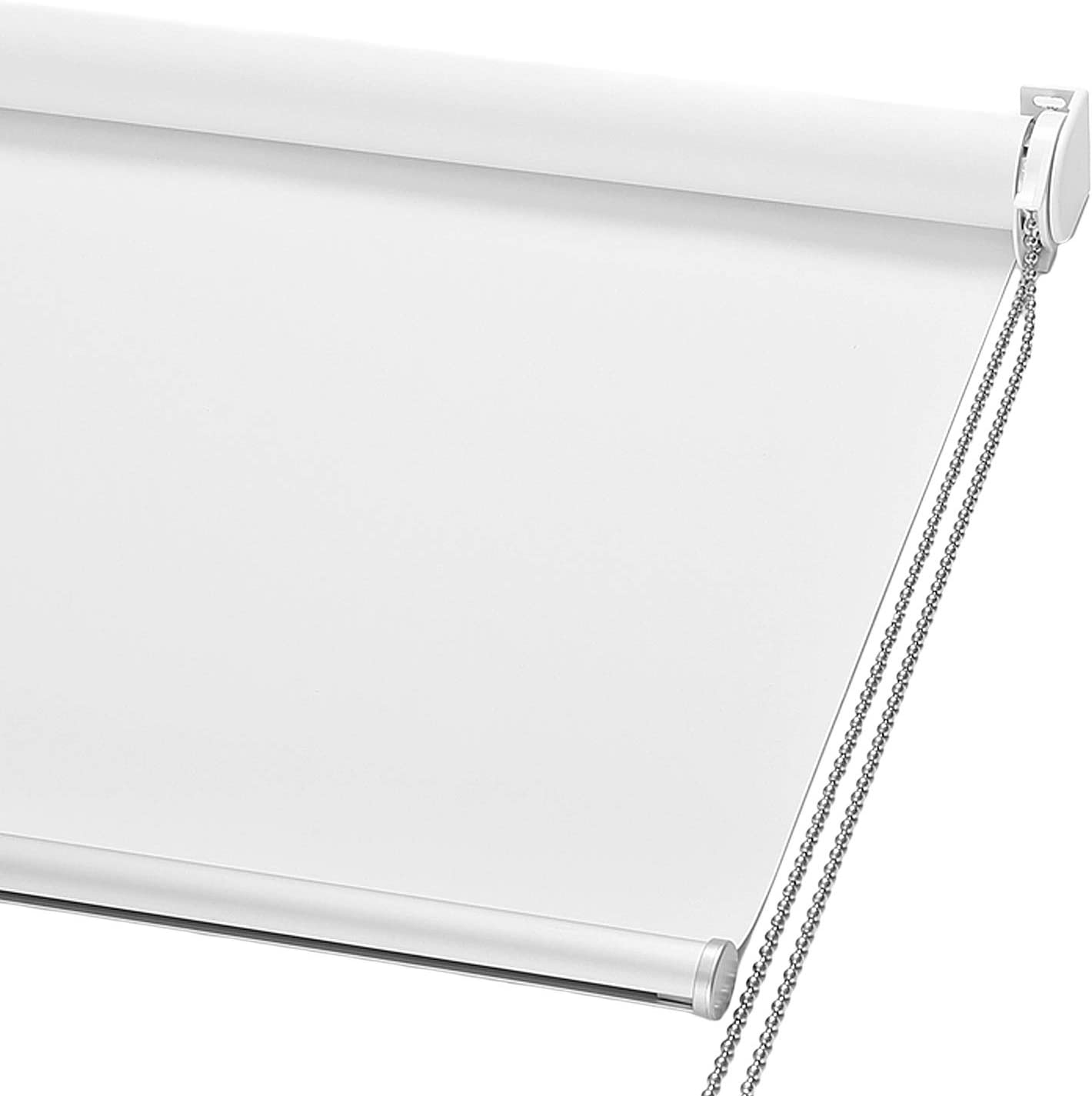 """ChrisDowa 100% Blackout Roller Shade, Window Blind with Thermal Insulated, UV Protection Fabric. Total Blackout Roller Blind for Office and Home. Easy to Install (24"""" W x 72"""" H, White)"""