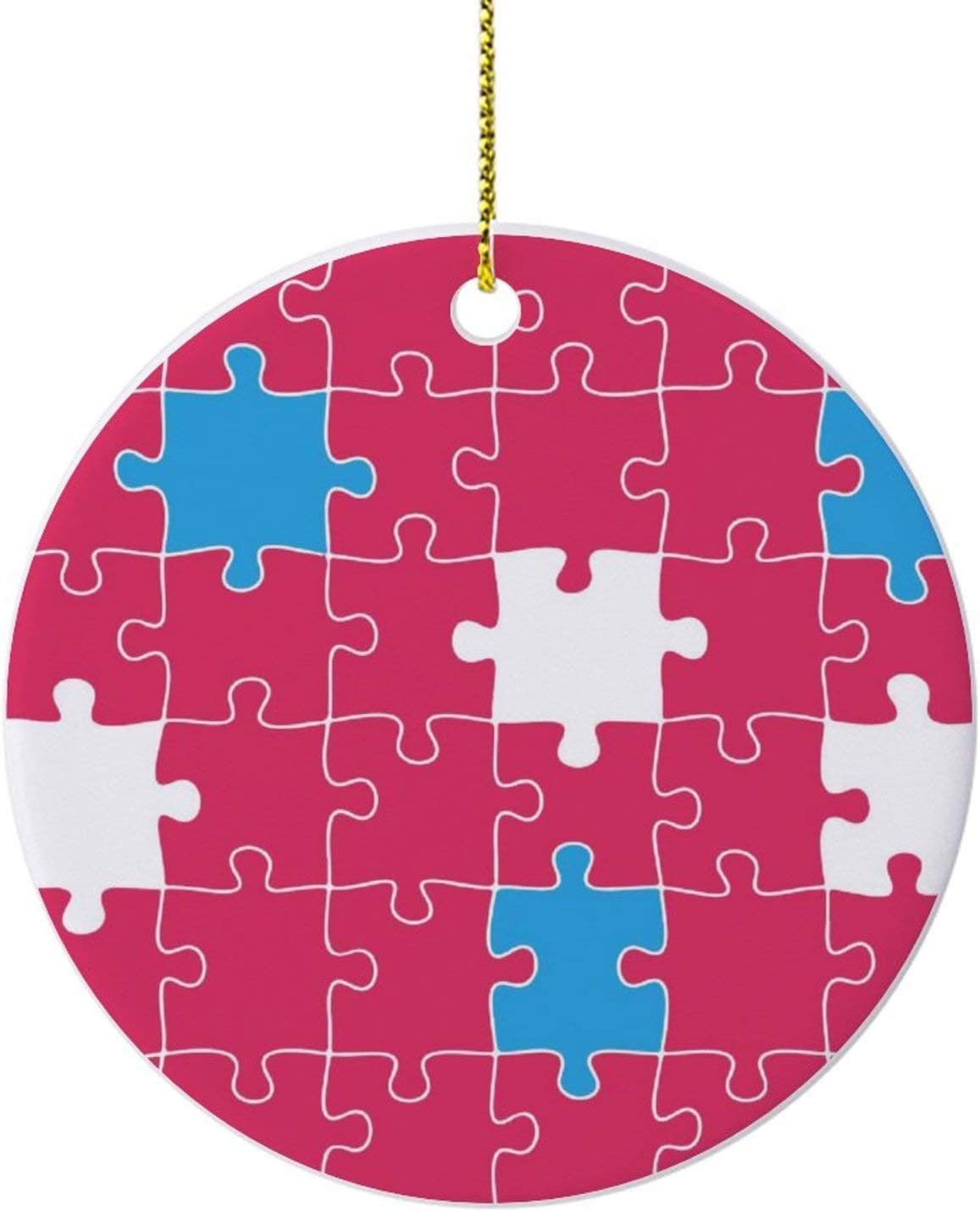 """Pink Jigsaw Puzzle Pattern Ornaments for Christmas Tree,Novelty Round Porcelain Ornaments 3"""",Keepsake Christmas Ornaments,Farmhouse Christmas Decor,for Home"""