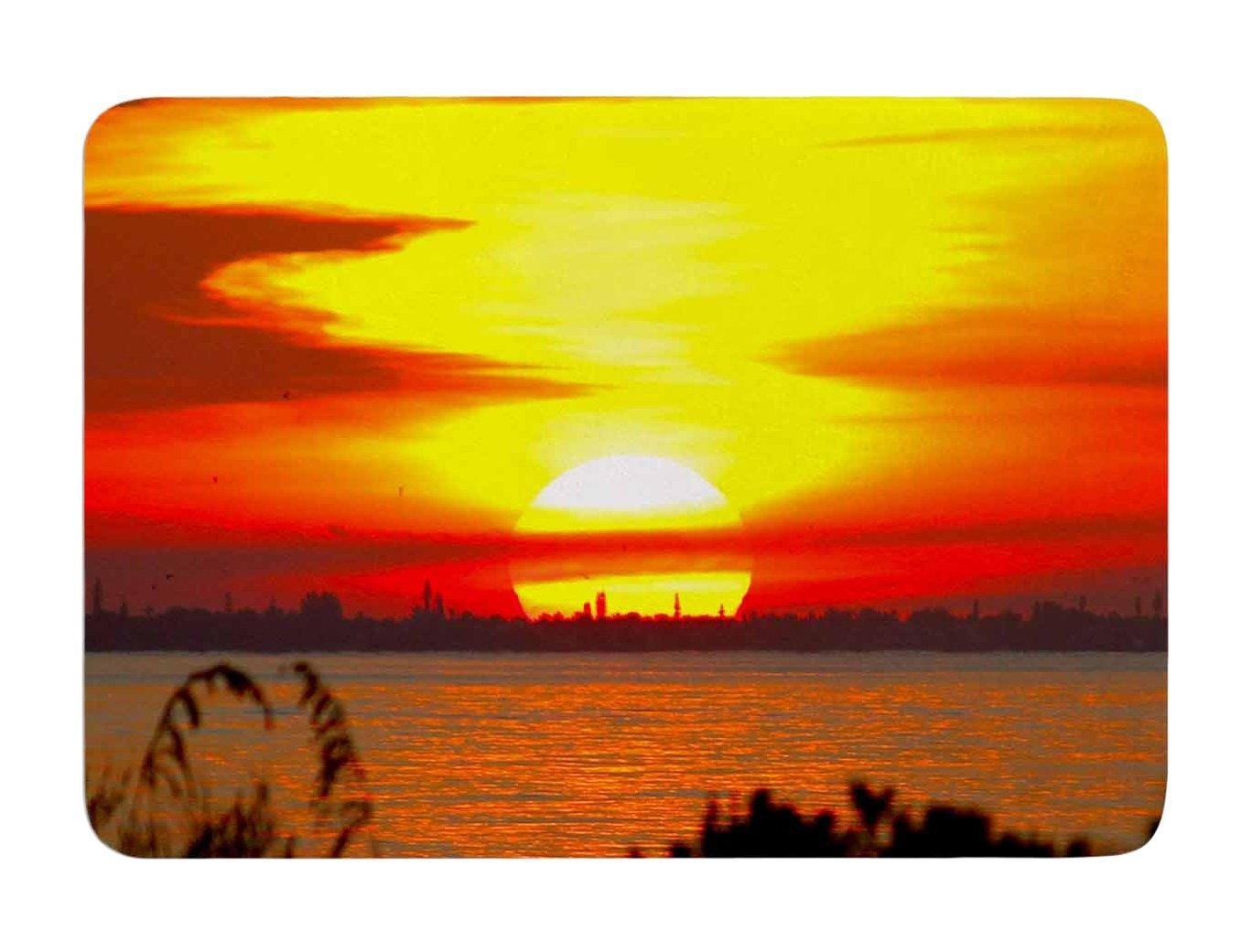 Kess InHouse Philip Brown Sunrise on Sanibel Coral Gold Memory Foam Bath Mat 17 by 24-Inch 17 X 24