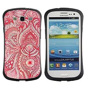 "Pulsar iFace Series Tpu silicona Carcasa Funda Case para SAMSUNG Galaxy S3 III / i9300 / i747 , Papel pintado rojo floral blanca flor florece"""